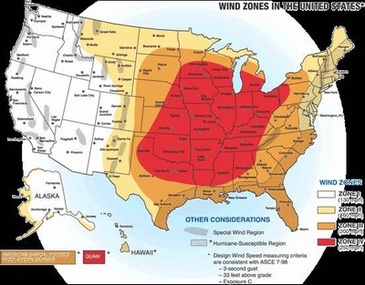 Us Wind Zone Map U.S. Wind Zone Map   Tornadoes / Windstorms/ Derechos   Linn